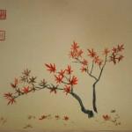 0102 Kakejiku with Autumn Leaves Painting / Raitei Arima 003