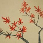0102 Kakejiku with Autumn Leaves Painting / Raitei Arima 004